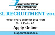 BEL Recruitment 2017 66 Probationary Engineer (PE) Posts