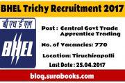 BHEL Trichy Recruiting Apprentice Job Posts 2017