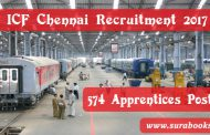 ICF Chennai Recruitment 2017 574 Apprentices Posts